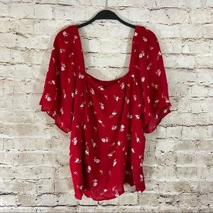 A new day red boho scoop neck flutter sleeve top L